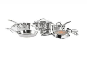 T-fal C836SC Ultimate Stainless Steel Copper Bottom Cookware 12-Pieces Set
